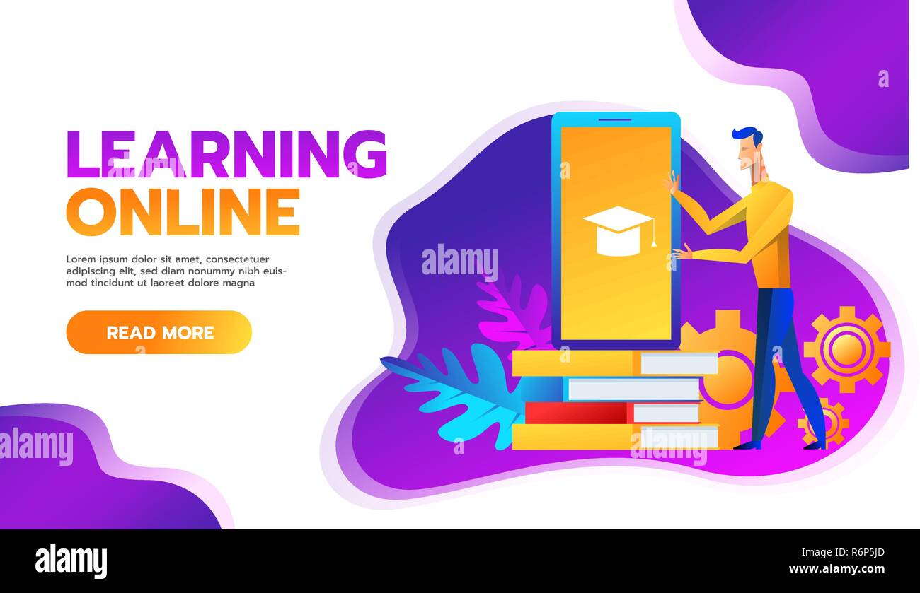 Online Training Courses Vector Illustration Distance Learning Business Education Concept Internet Studying Book Tutorials Skills Developstudent Flat Cartoon Character Design For Web Mobile Banner Stock Vector Image Art Alamy