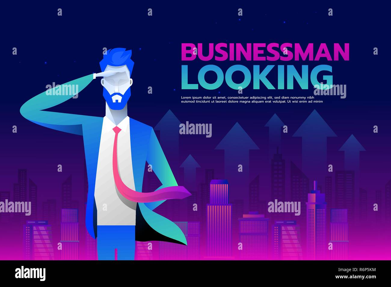 Businessman with looking forward to success wiith City background, Business concept, vector 10 - Stock Vector