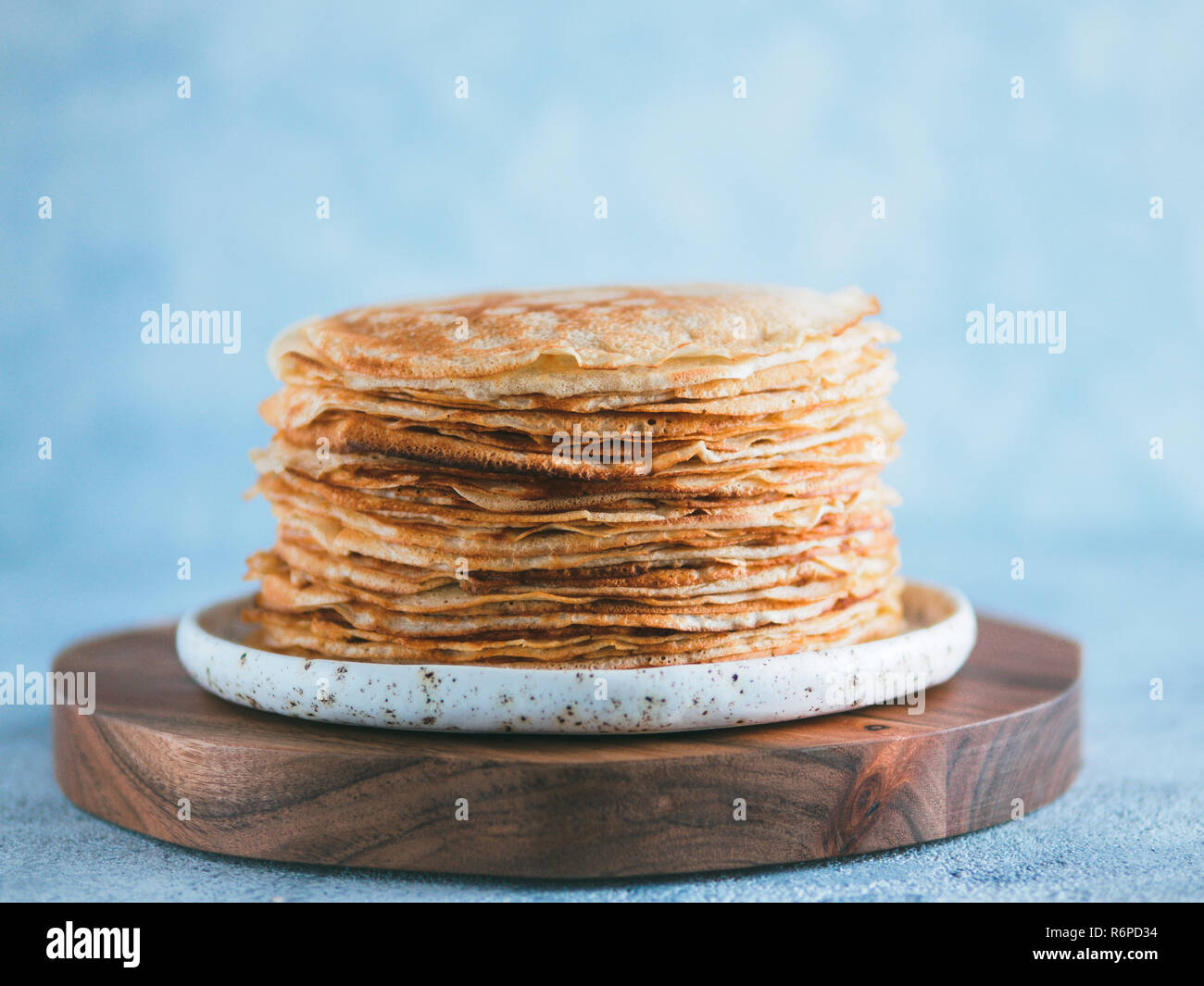 russian pancakes blini with copy space - Stock Image