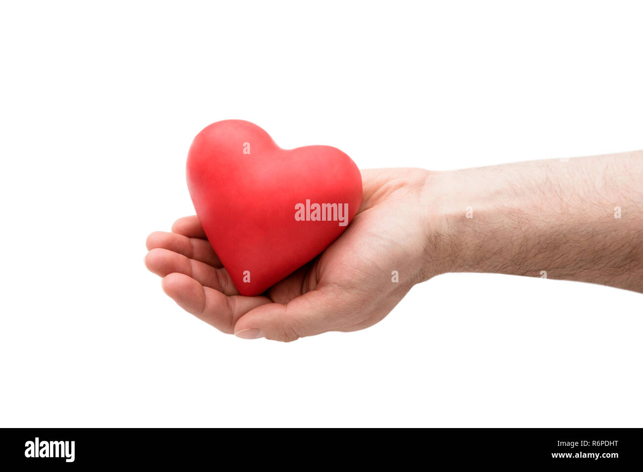 Red heart in man's hand - Stock Photo