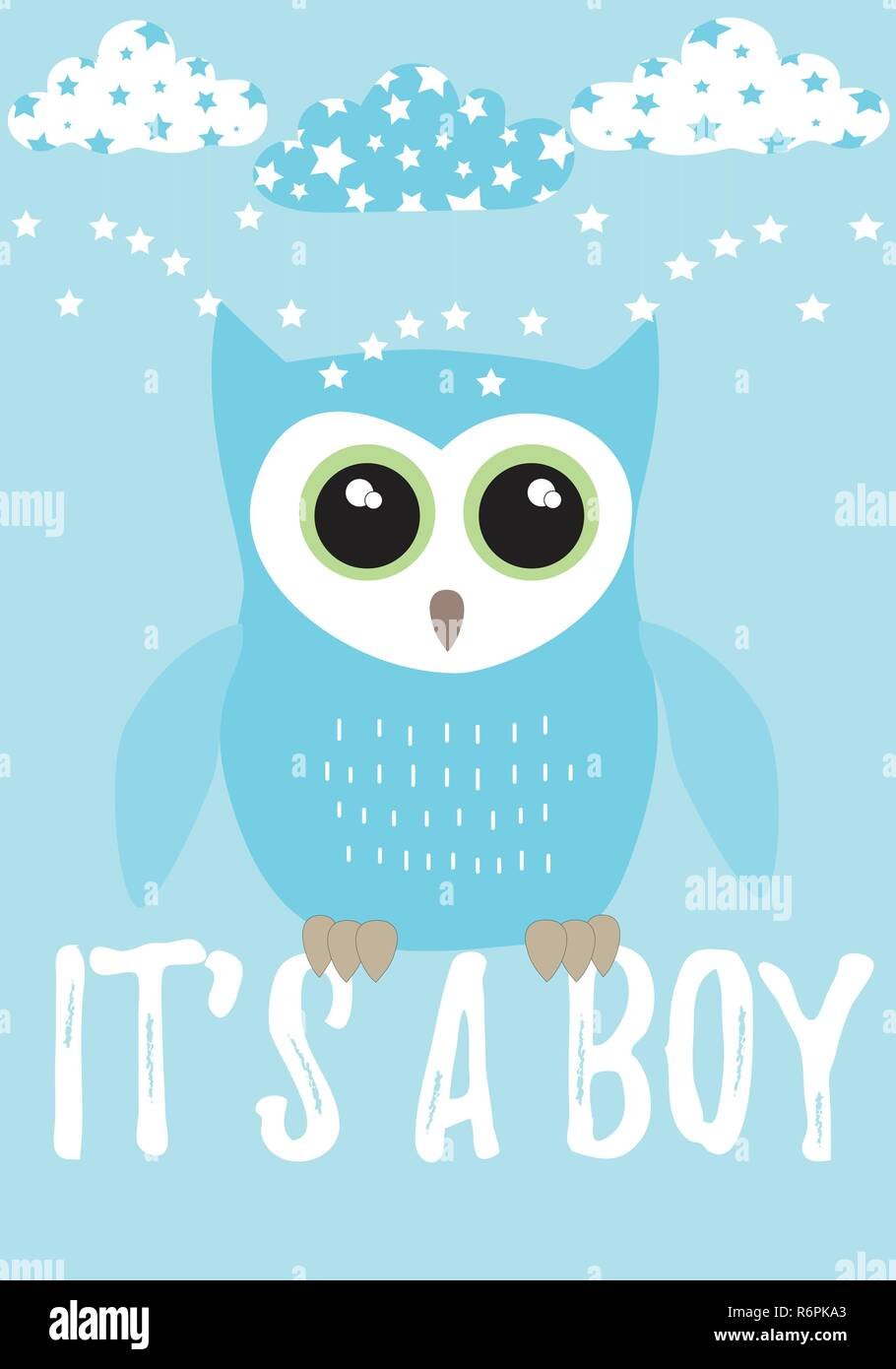 Owl It's a boy card in pastel blue with black,white and green colors palette vector illustration template on a blue background with clouds and star Stock Vector