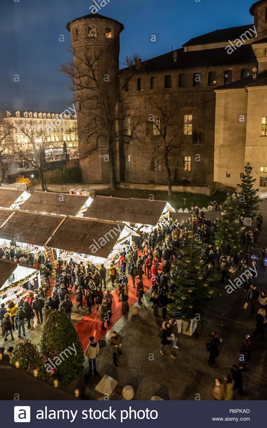 Turin, Italy. 2nd December, 2018. General view of Christmas market and Palazzo Madama by night. © Simone Migliaro / Awakening Stock Photo