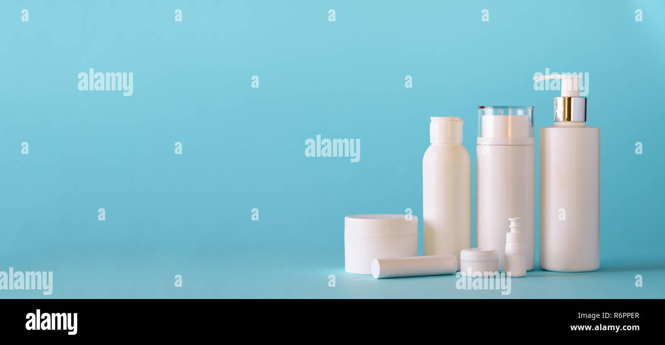 White Cosmetic Tubes On Blue Background With Copy Space Skin Care Body Treatment Beauty Concept Banner Stock Photo Alamy