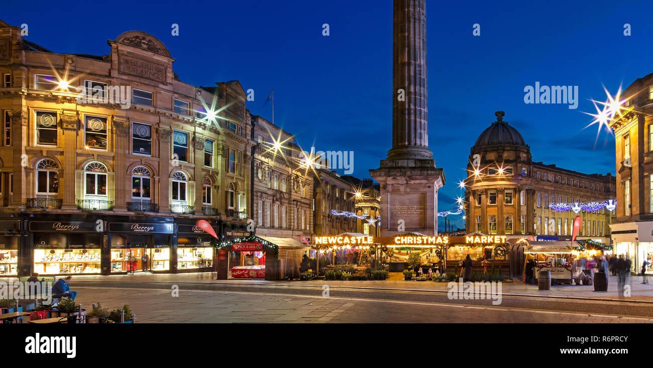 The Newcastle Christmas Market at dusk, Newcastle upon Tyne, Tyne & Wear, England, United Kingdom - Stock Image