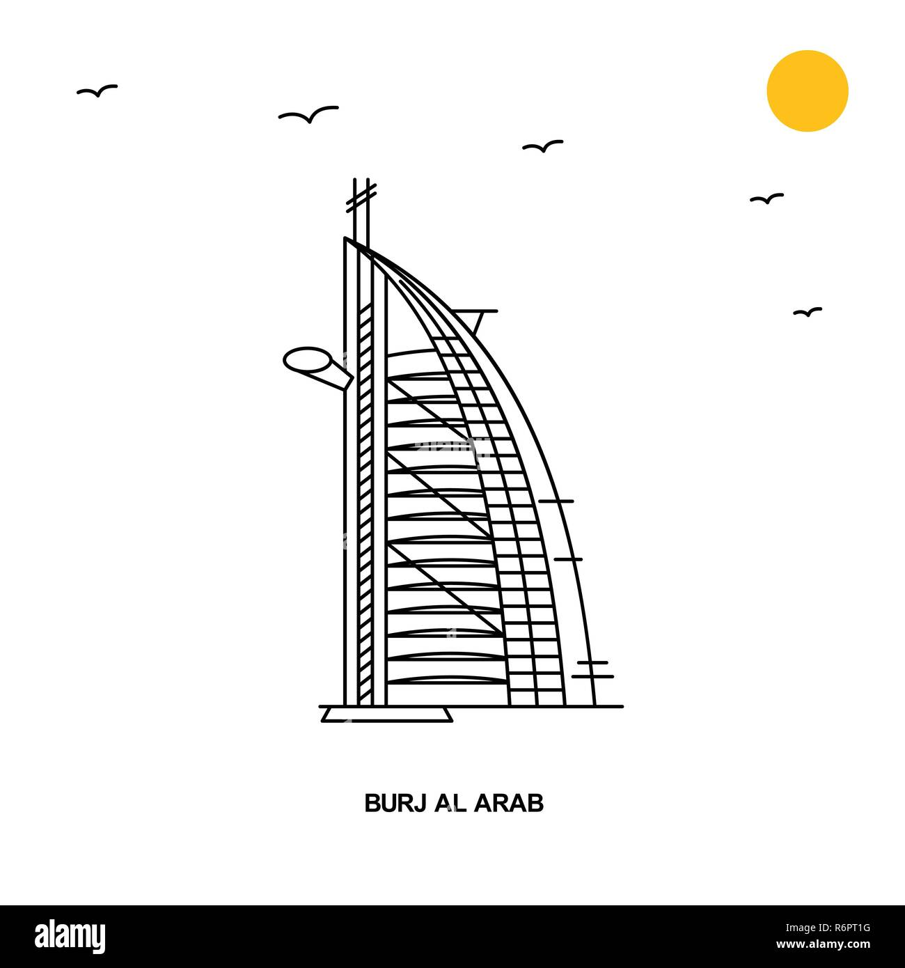 BURJ AL ARAB Monument. World Travel Natural illustration Background in Line Style Stock Vector