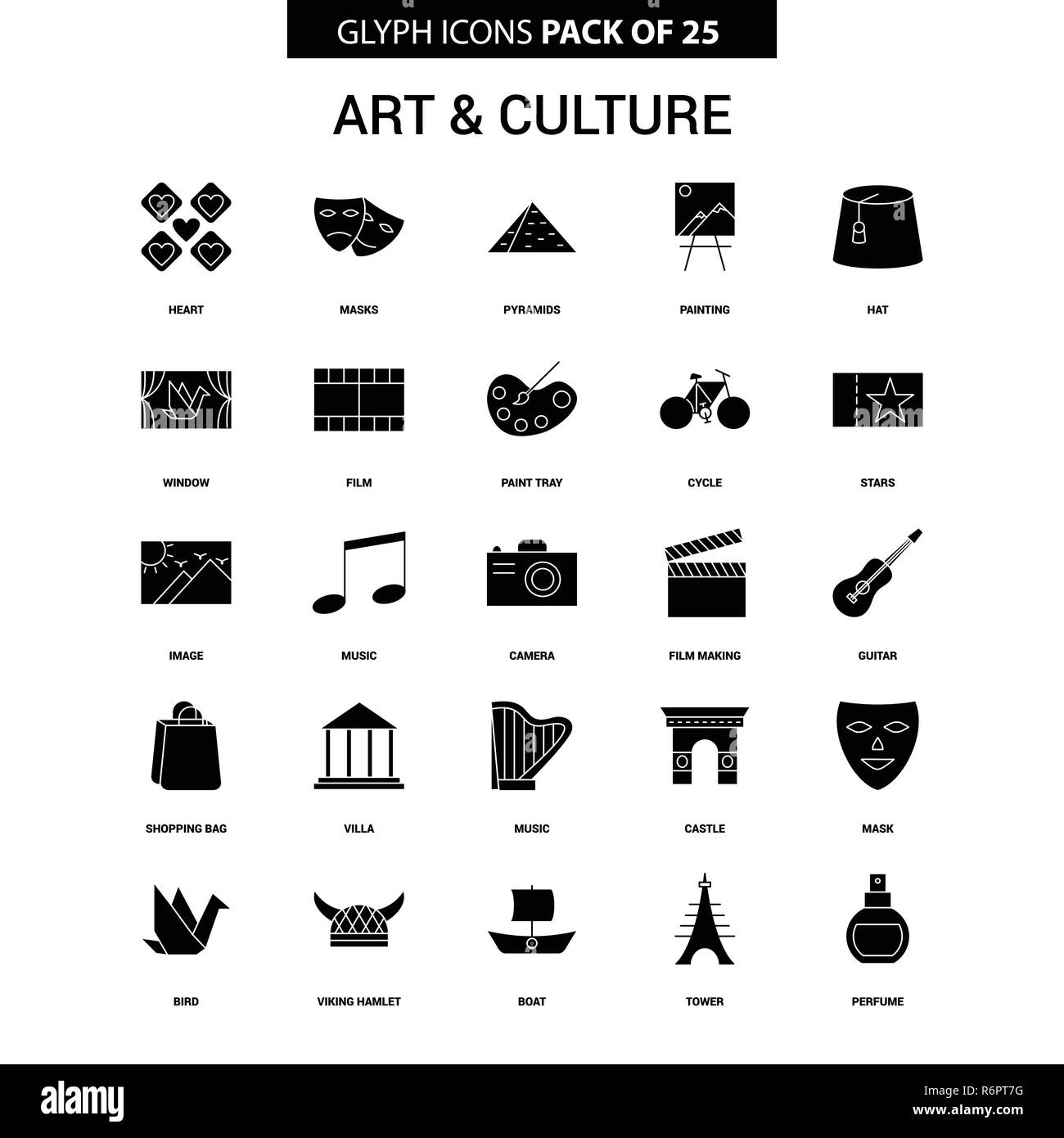 Art and Culture Glyph Vector Icon set - Stock Vector