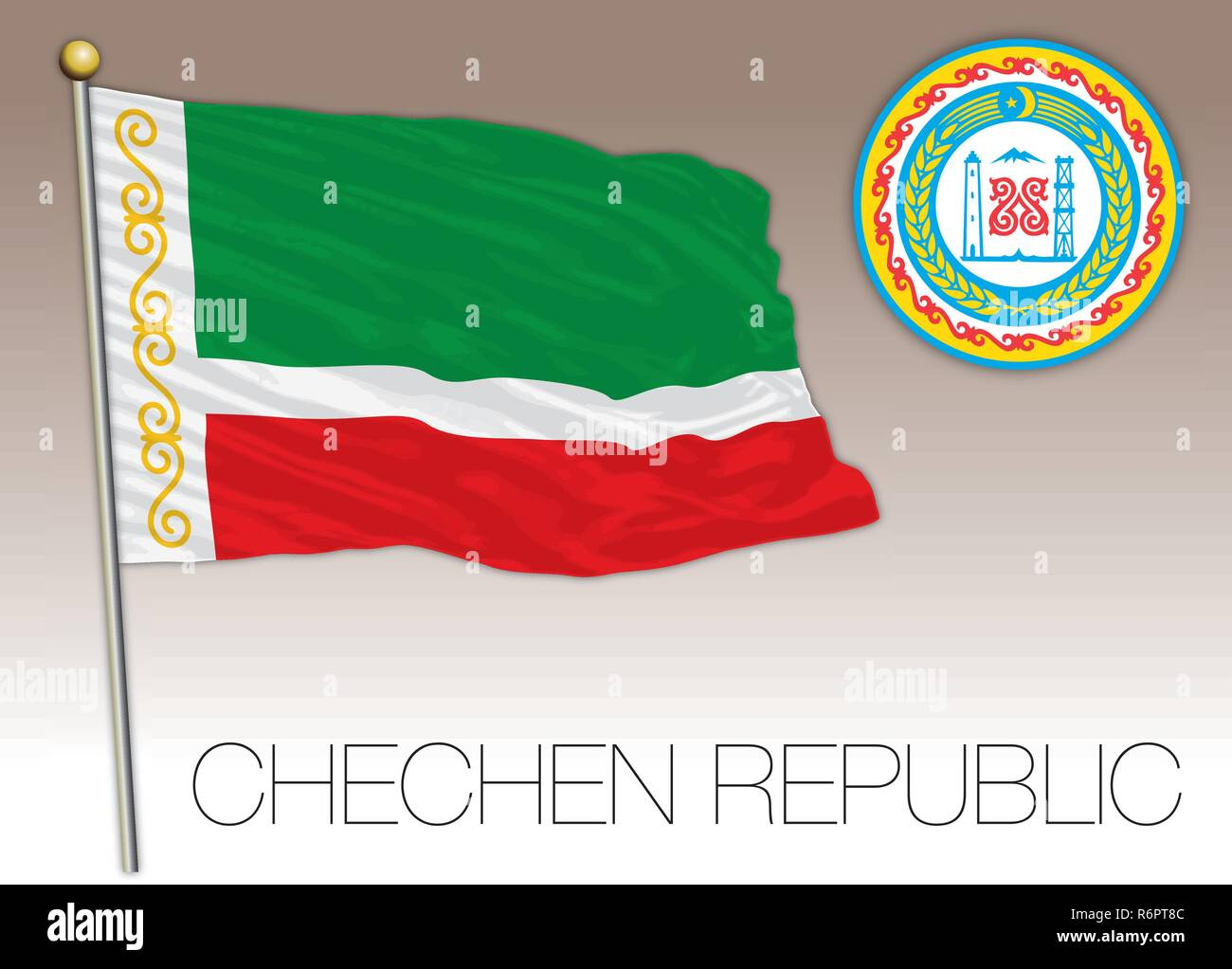 Chechen Republic flag, Russian Federation, vector illustration - Stock Image
