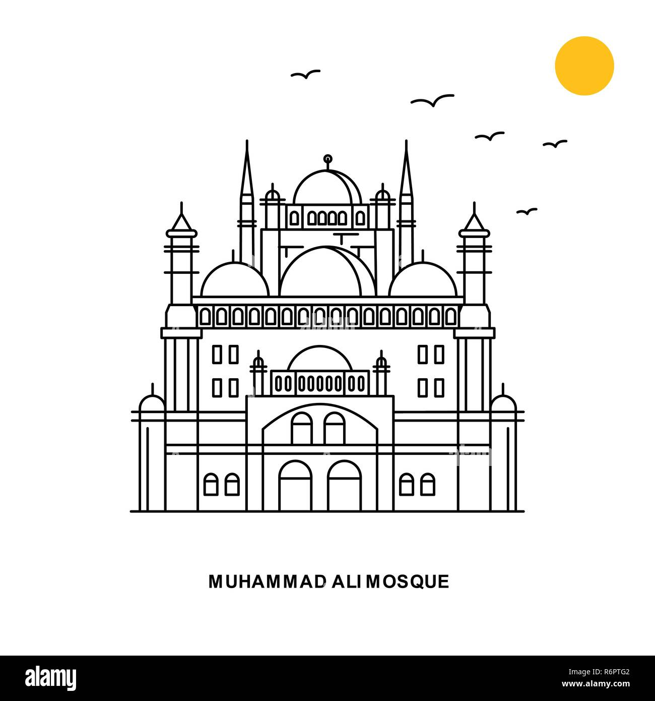 MUHAMMAD ALI MOSQUE Monument. World Travel Natural illustration Background in Line Style - Stock Image