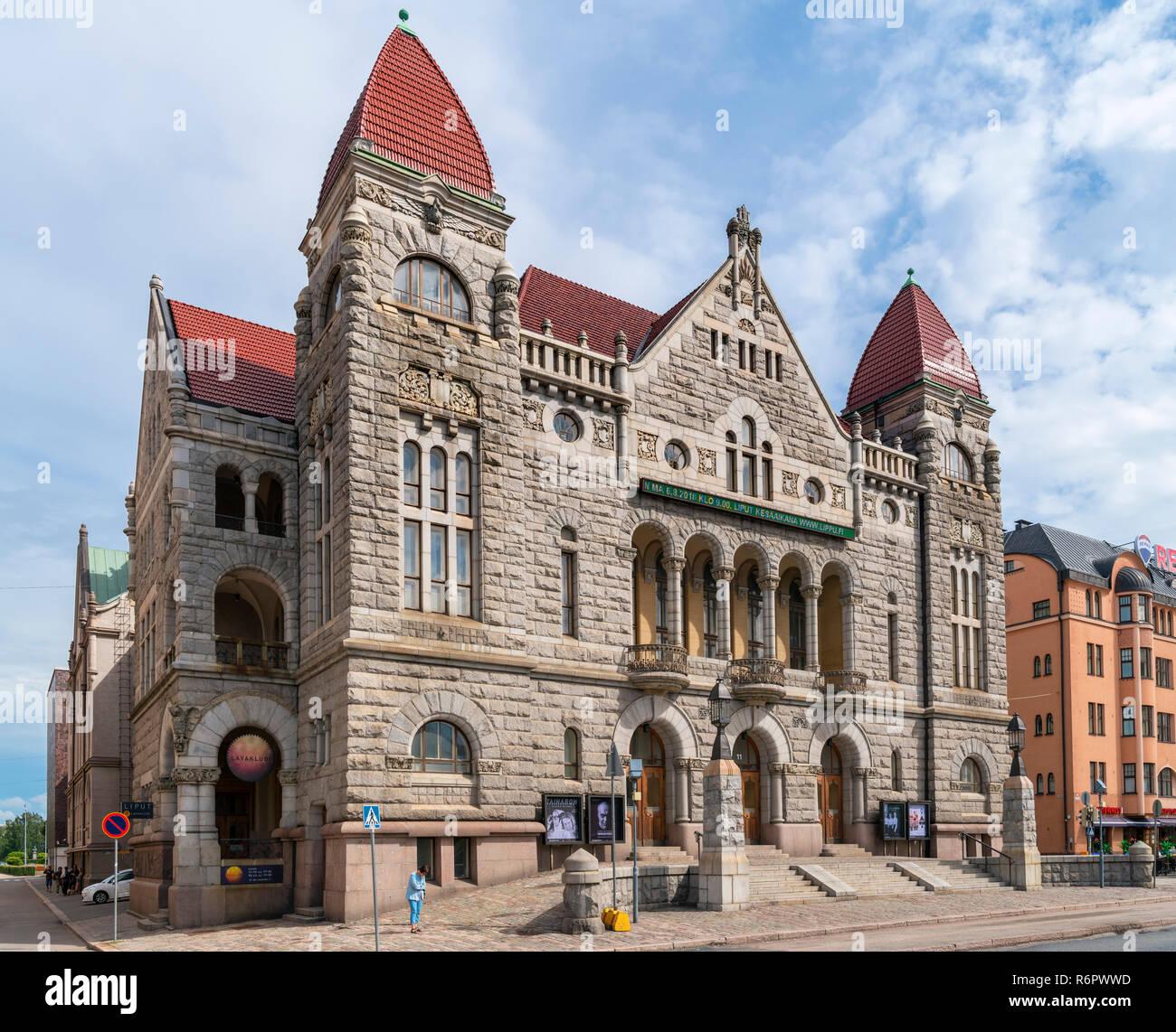 Finnish National Theatre (Suomen Kansallisteatteri), Rautatientori square, Helsinki, Finland - Stock Image