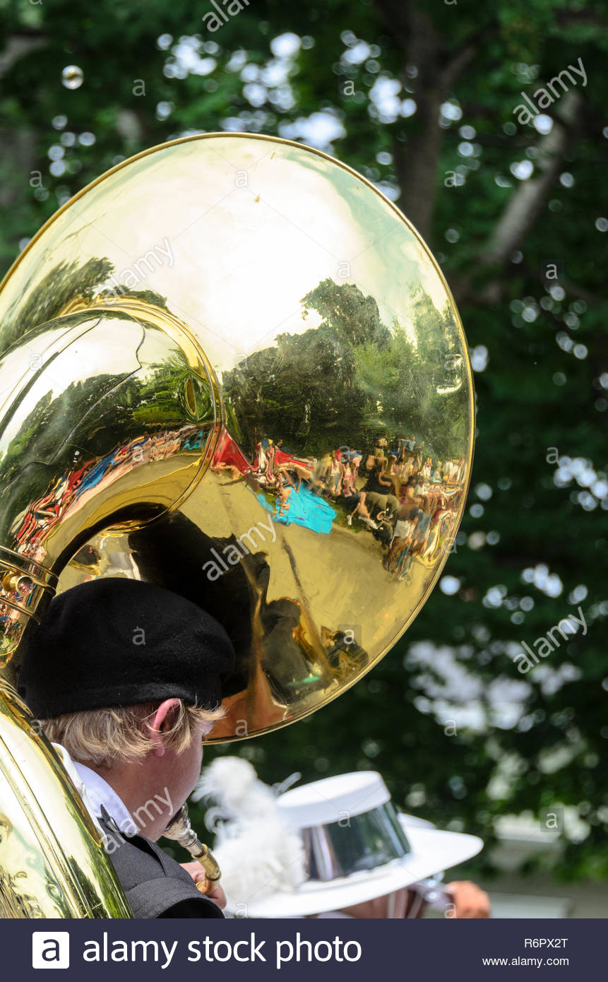 Bristol, Rhode Island, USA - July 4, 2011: Sousaphone reflecting spectators at Independence Day parade in Bristol, Rhode Island - Stock Image