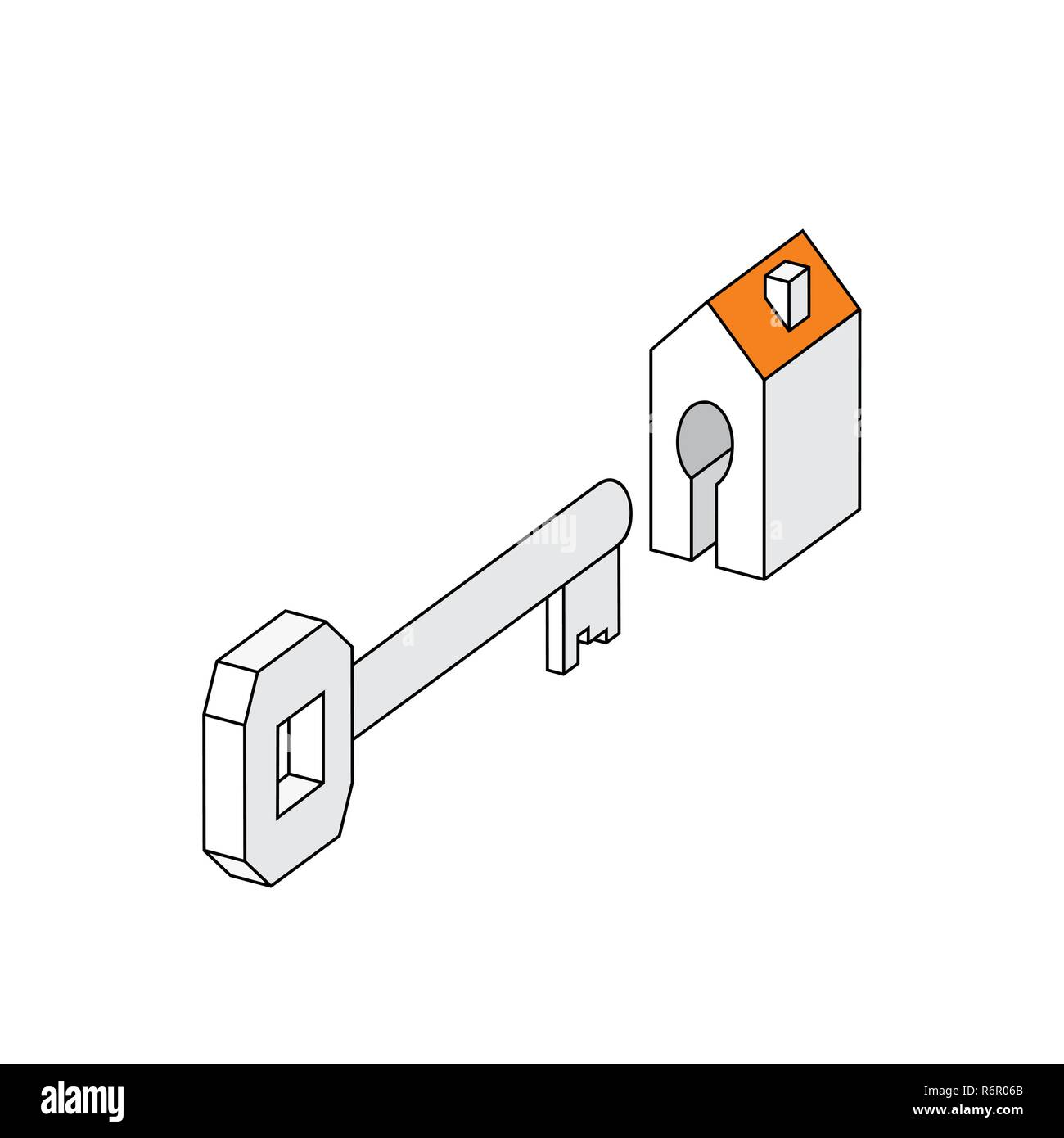 image key with house. sign symbol Vector illustration stylized building and key lock of apartment. concept buy of a new housing. profession realtor sa - Stock Vector