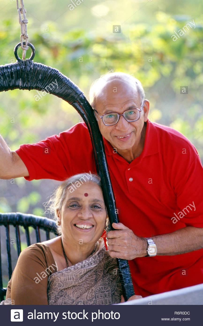 MAK-36929 :  aged couple seated together ; india ; MR. NO. 278 ; 279 - Stock Image