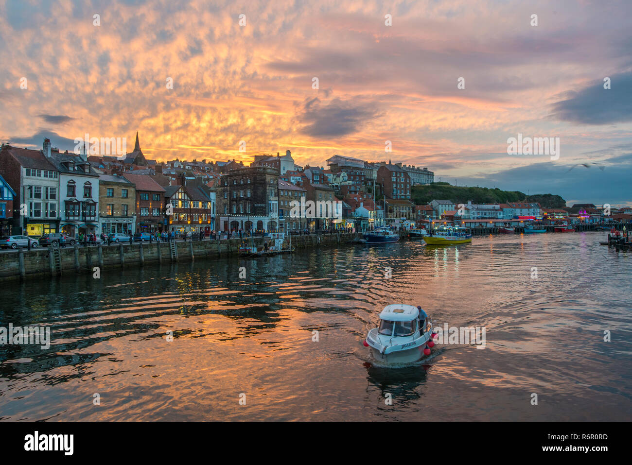 Whitby Harbour. Whitby is a seaside town, port and civil parish in the Borough of Scarborough and English county of North Yorkshire, August 2017 Stock Photo