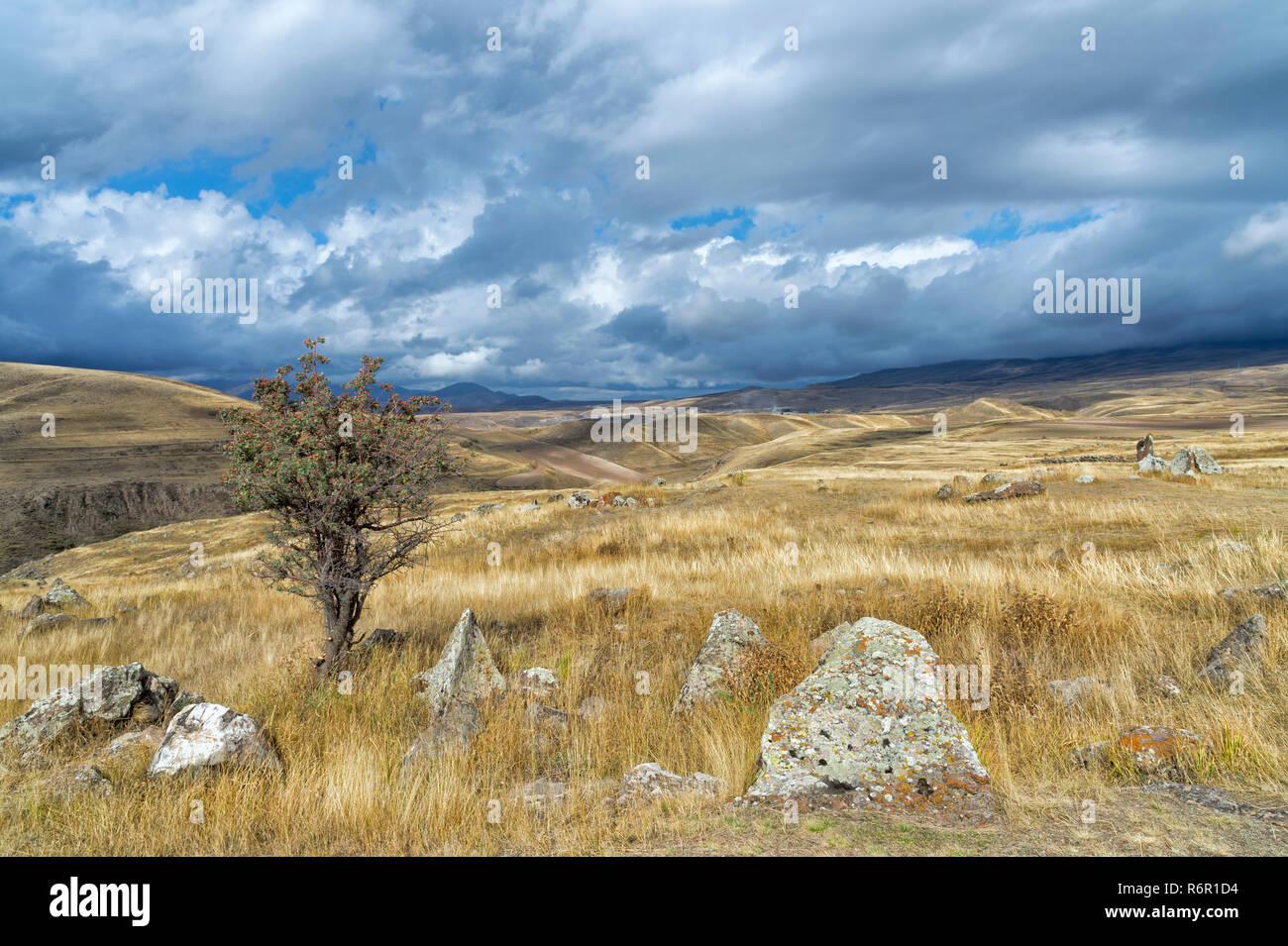 Prehistoric archaeological Karer site of Zorats, Sisian, Syunik Province, Armenia, Caucasus, Middle East, Asia - Stock Image