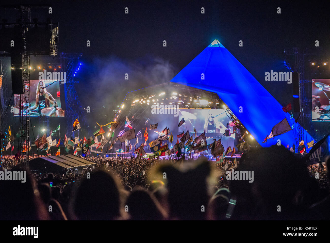 Foo Fighters Perform at The Glastonbury Festival 22.6.2017 - Stock Image