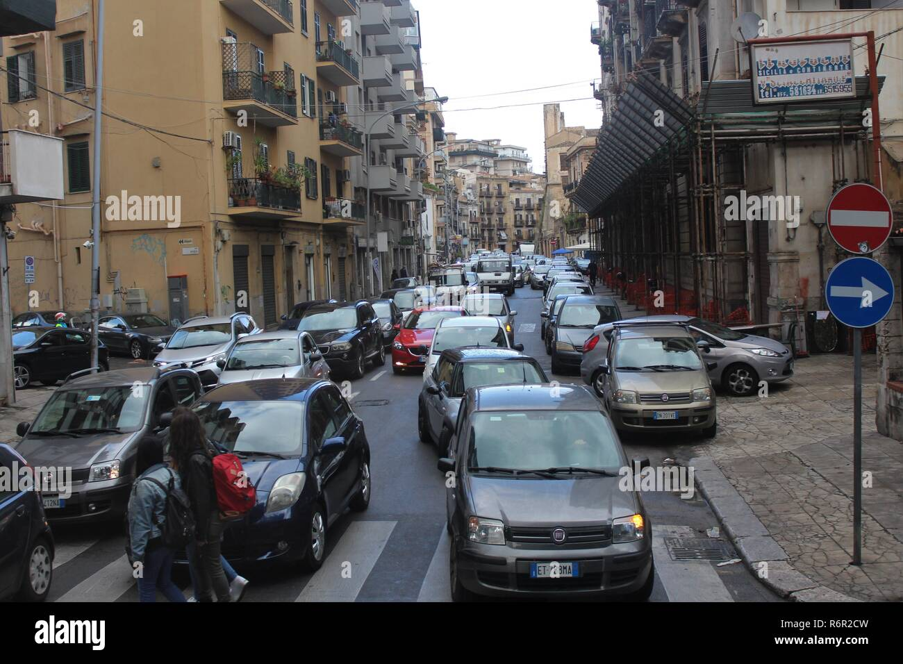 Palermo, Sicily, Italy - October 22nd 2018: Traffic congestion in Palermo, which is one of the most hazardous cities in Italy for driving in. - Stock Image