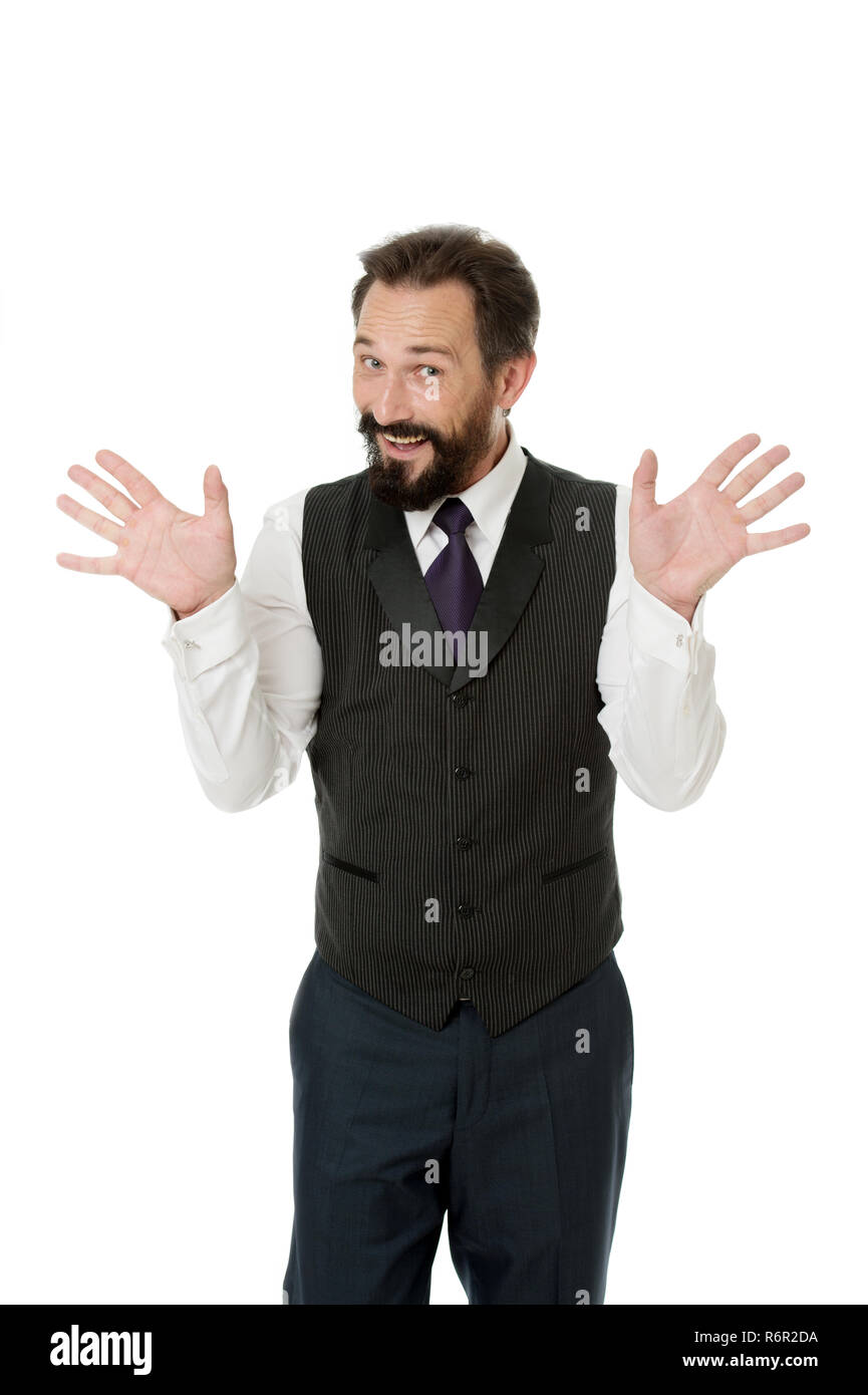 Tricky man shows hands palms as symbol of innocence. Business success tips. If you want be successful you should know. Teacher or speaker talking. My conscience is clear. I am not involved in this. - Stock Image