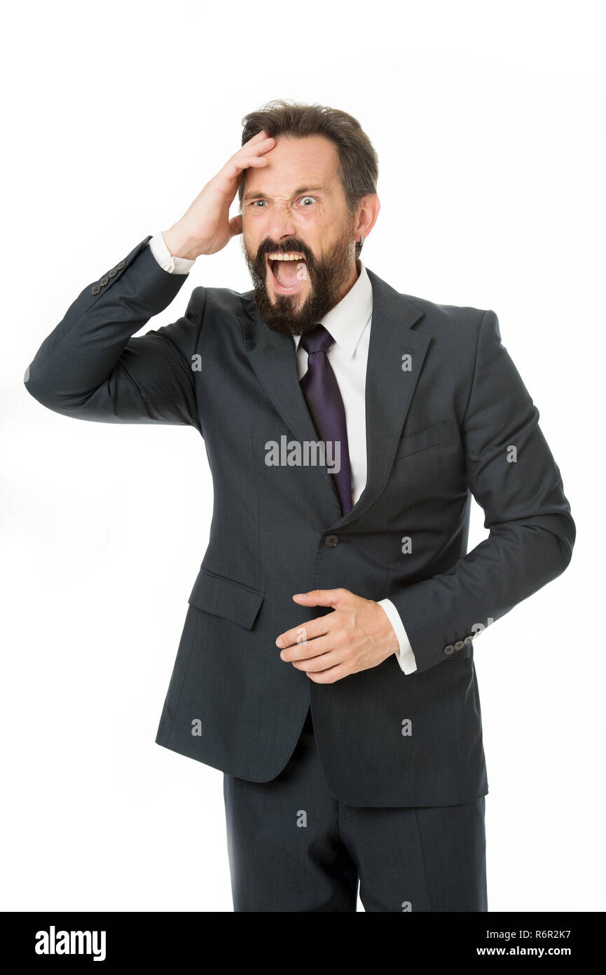 Aggression causes pain. Frustrated business man hold hand on head while stand against white background. Businessman feel pain headache stressful day. Stressful business life. Aggressive mad man shout. - Stock Image