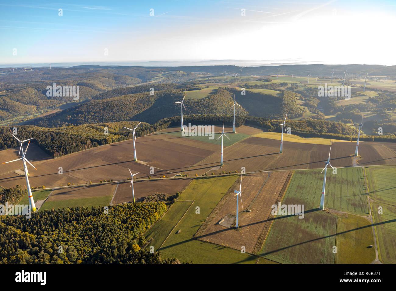 Luftbild, Windpark zwischen Asseln und  Lichtenau, Kreis Paderborn, Nordrhein-Westfalen, Deutschland, Europa, - Stock Image