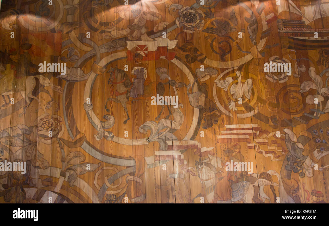 Inside the Historical museum of Gdansk Poland situated in the old town hall, painted wooden ceiling Stock Photo
