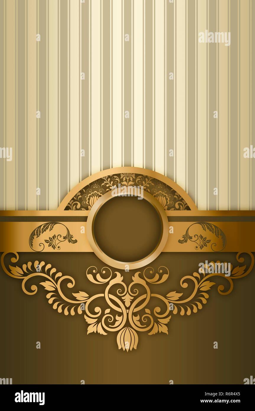 Vintage background with decorative golden border and frame