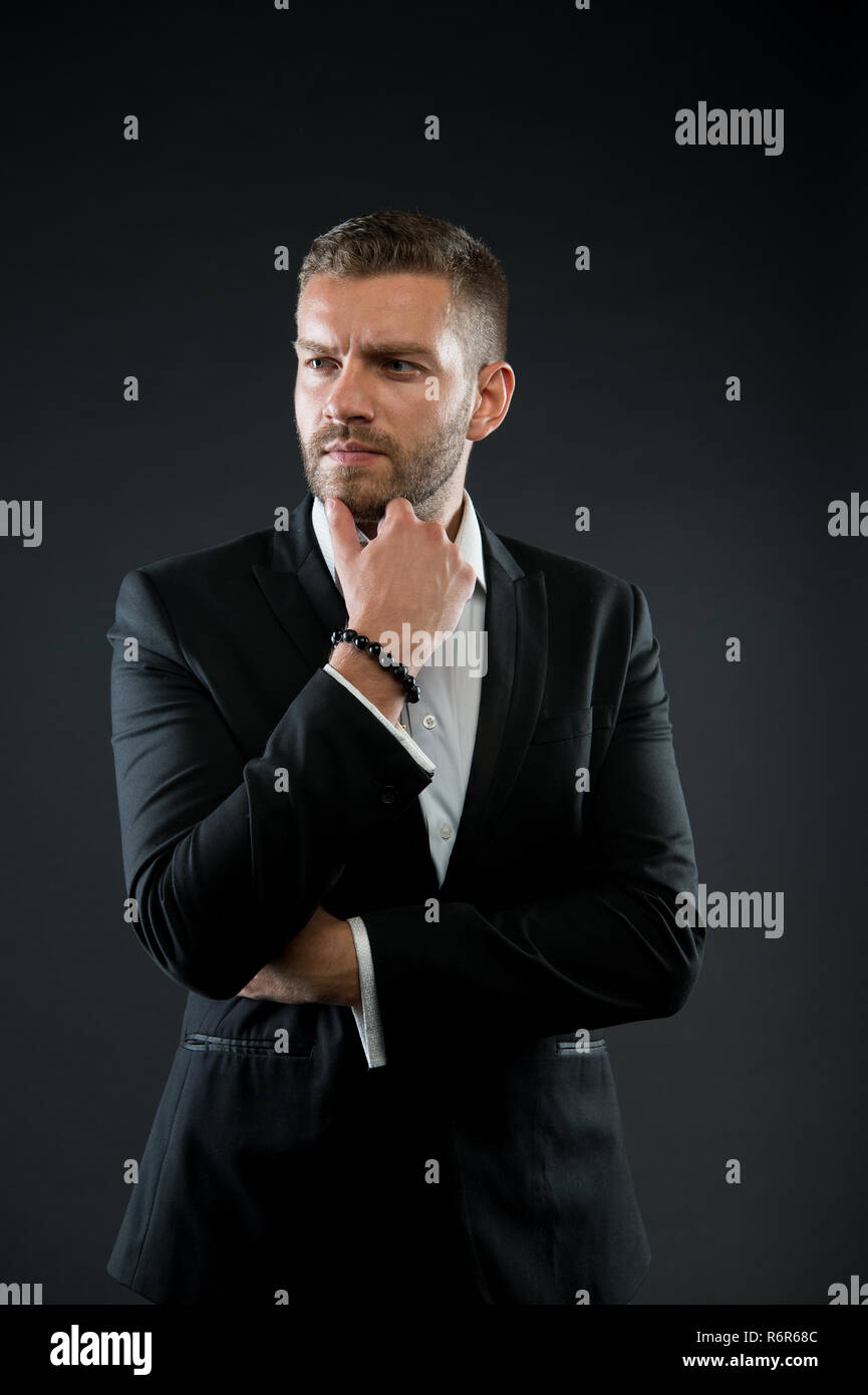 9b99ac567 Manager in formal jacket, shirt on dark background, fashion. Business,  entrepreneurship,