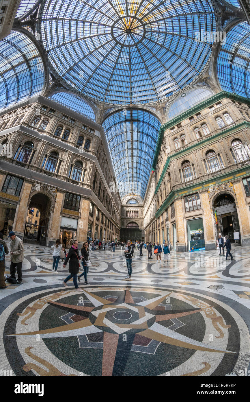 Galleria Umberto, shopping arcade,built between 1887–1891and designed by Emanuele Rocco, Via Toledo and  Via San Carlos, Naples, Italy. - Stock Image