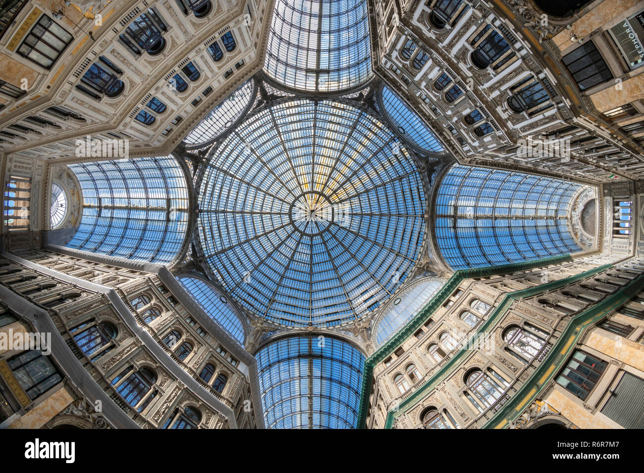 The glass and iron framed roof of the Galleria Umberto, shopping arcade,built between 1887–1891and designed by Emanuele Rocco, Via Toledo and  Via San - Stock Image