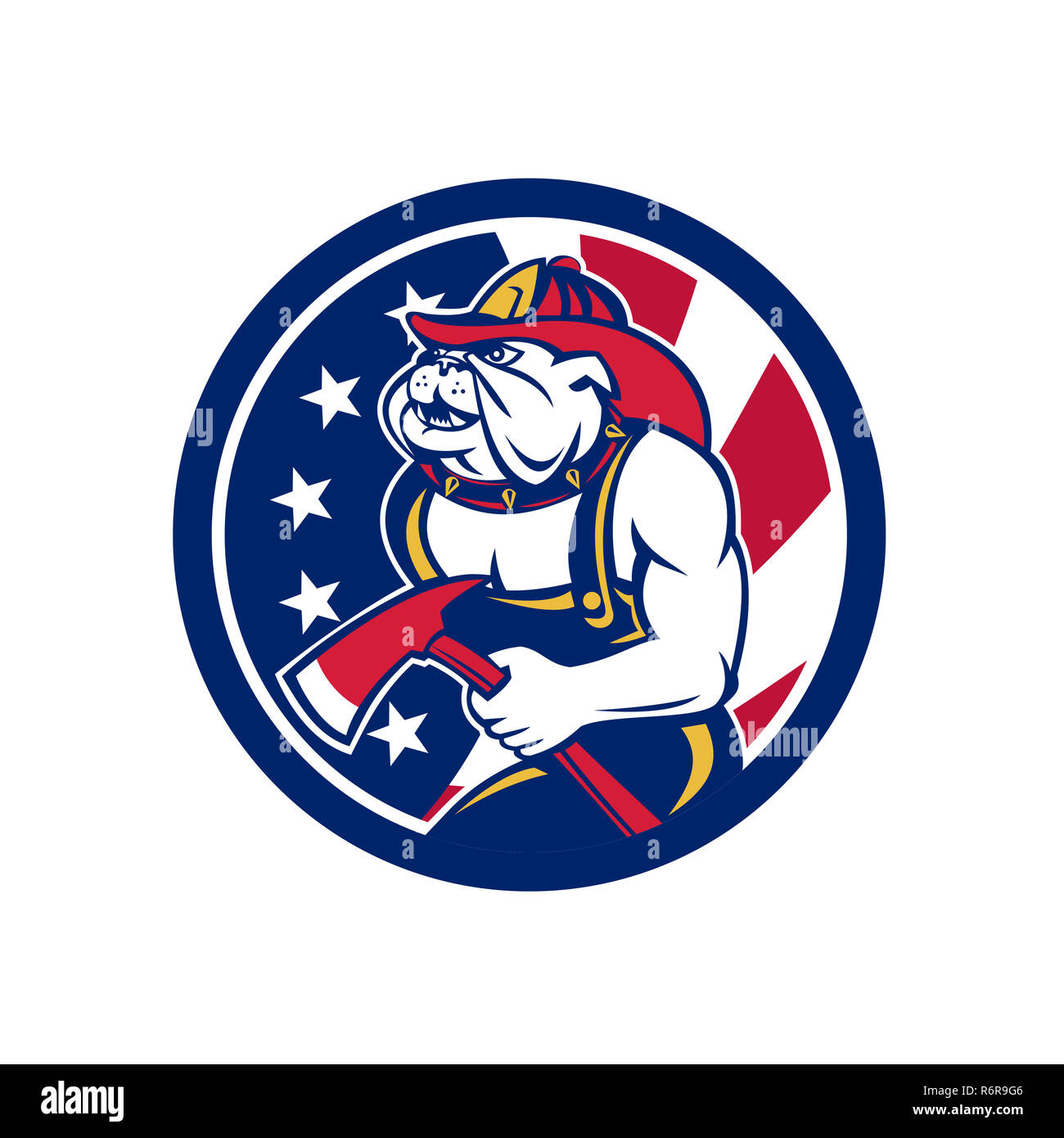 903bdce6cd4 Bulldog Fireman American Flag Icon Stock Photo  227935126 - Alamy