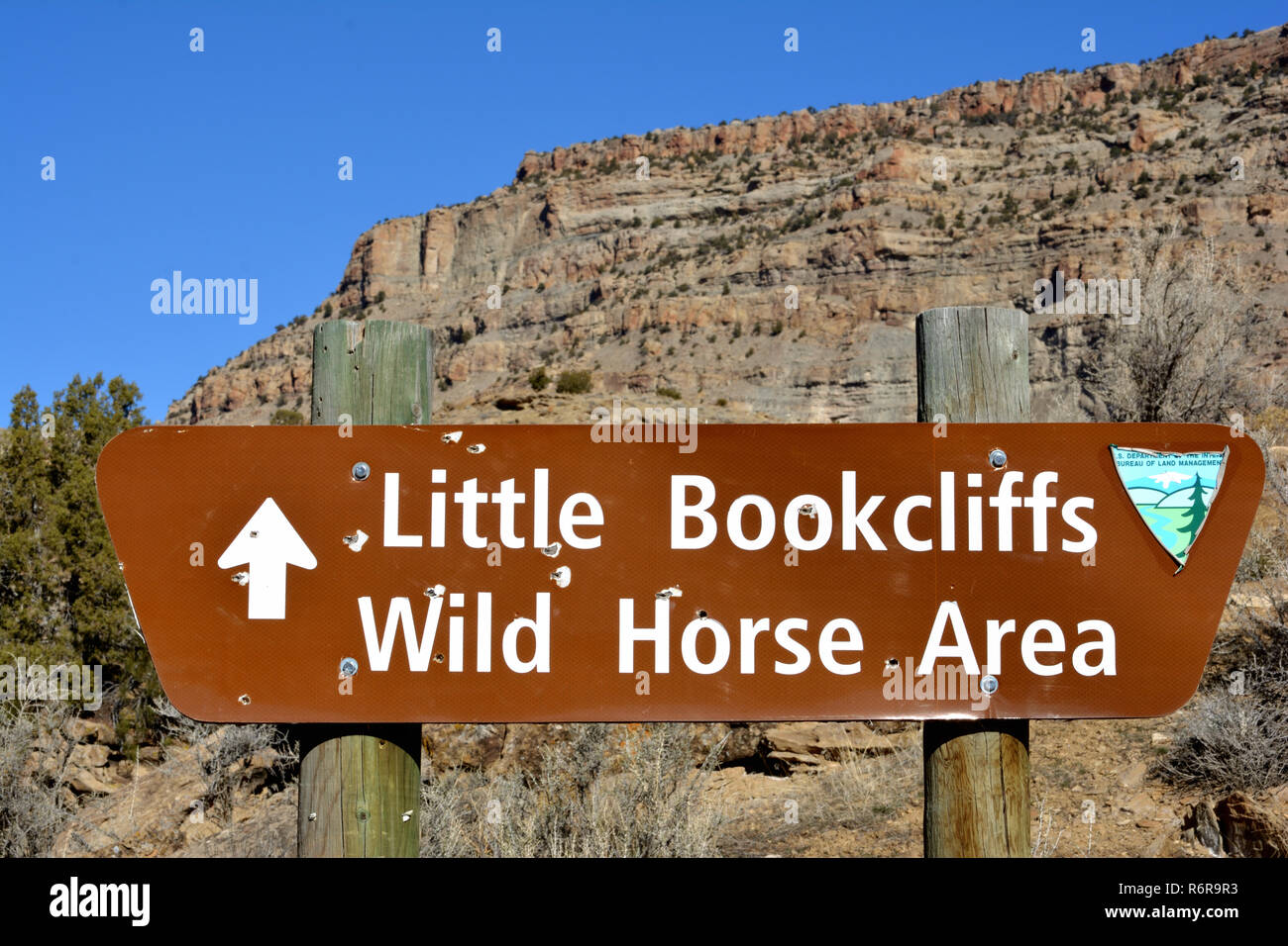 Trailhead sign at Little Book Cliffs Wild Horse Area in Western Colorado - Stock Image