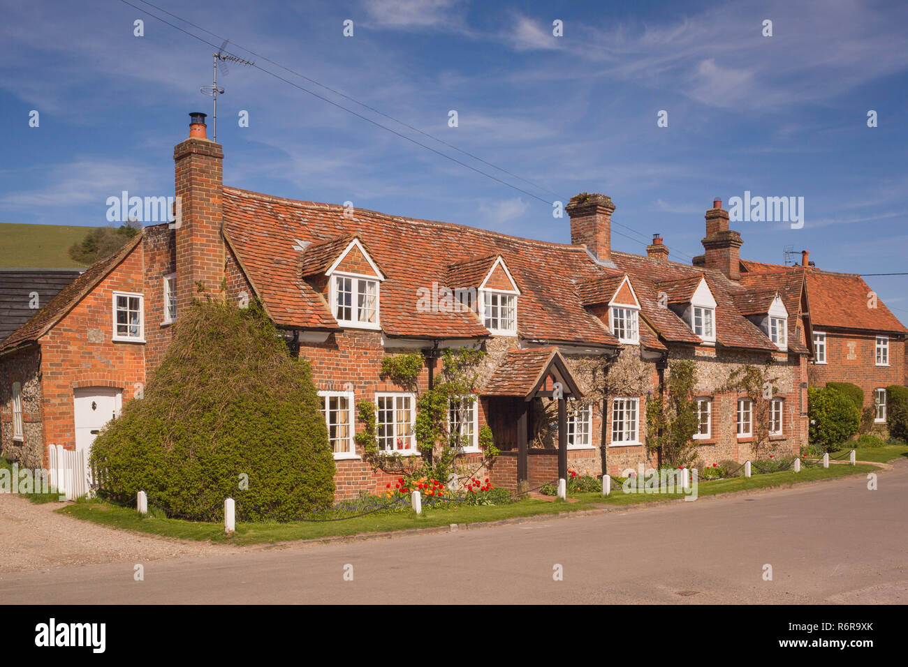 Cottages in the Chiltern village of Turville, Buckinghamshire - Stock Image