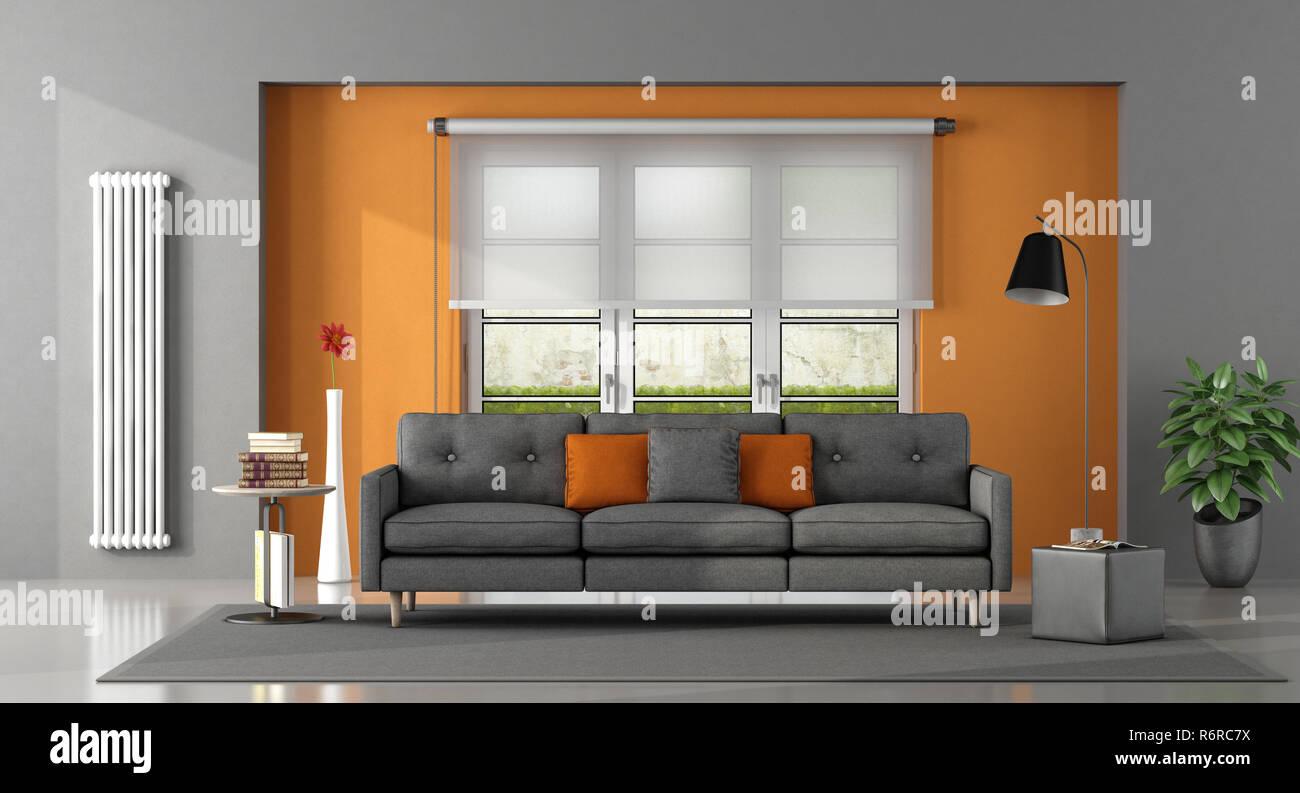 Gray Orange Living Room Stock Photo 227937246 Alamy