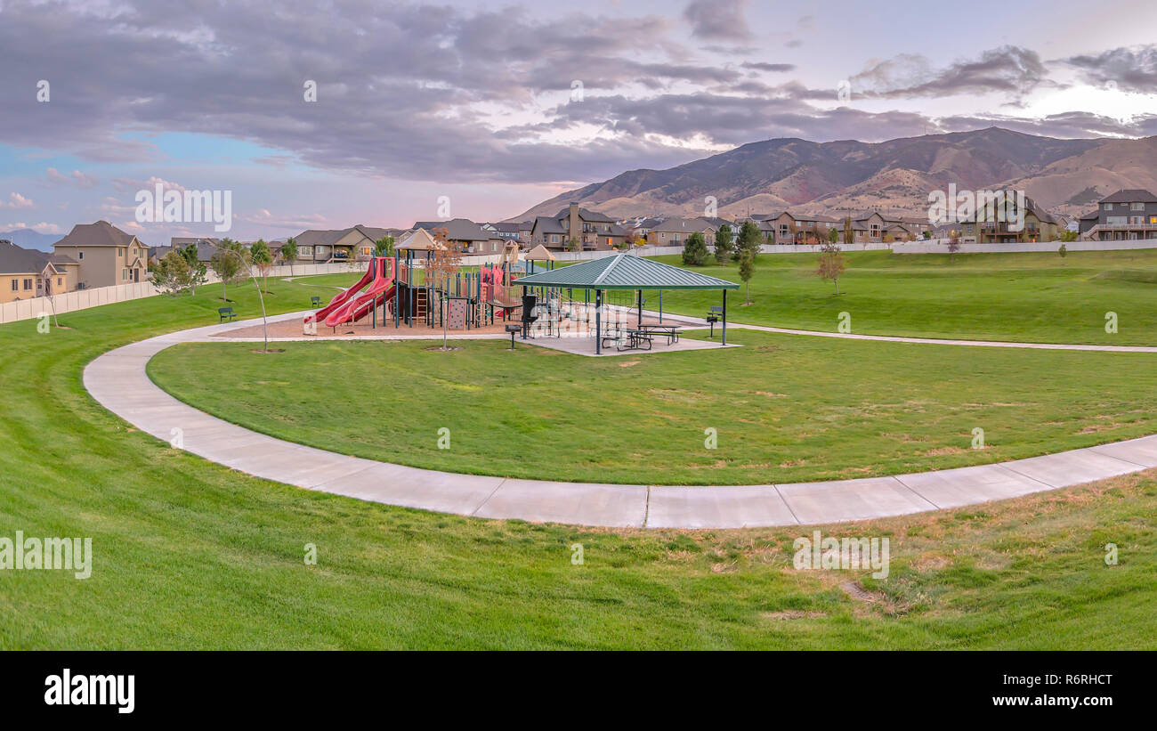 Playground and eating area in Saratoga Springs UT - Stock Image