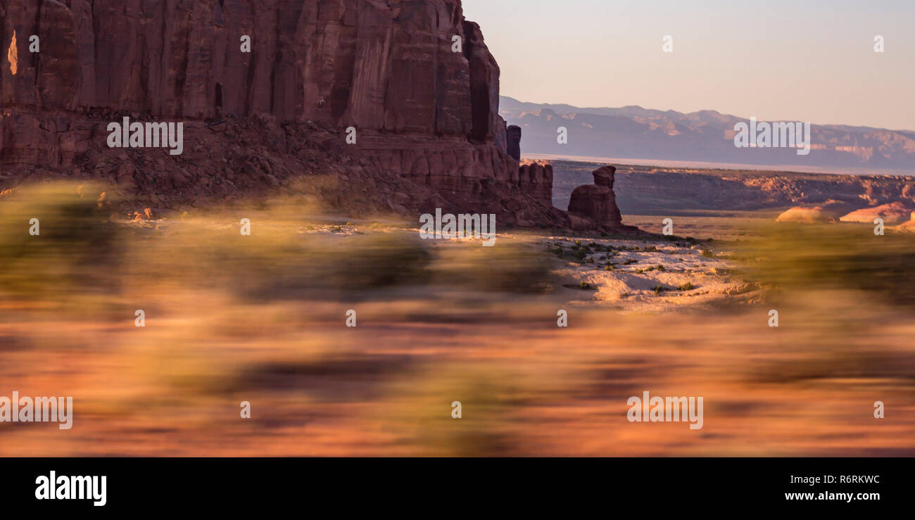 Scenic Moab wilderness with foreground motion blur - Stock Image