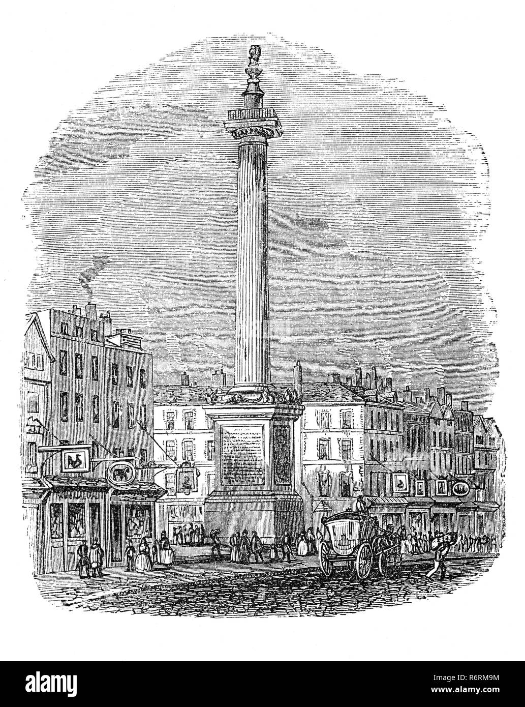 View of the Monument Erected in Memory of the Dreadful Fire in the Year 1666 in Fish Street Hill, a bustling London street on the north side of London Bridge. It was commissioned from the architect Sir Christopher Wren, and built in the wake of the Great Fire of London. The huge pillar, a fluted Doric column, is topped by a flaming urn. It stands 202 feet tall and is located about 202 feet from the site of the baker's shop in Pudding Lane, where the fire began. The Monument was unveiled in 1677 as a reminder of the dreadful fire and a symbol of the city's rebirth. - Stock Image