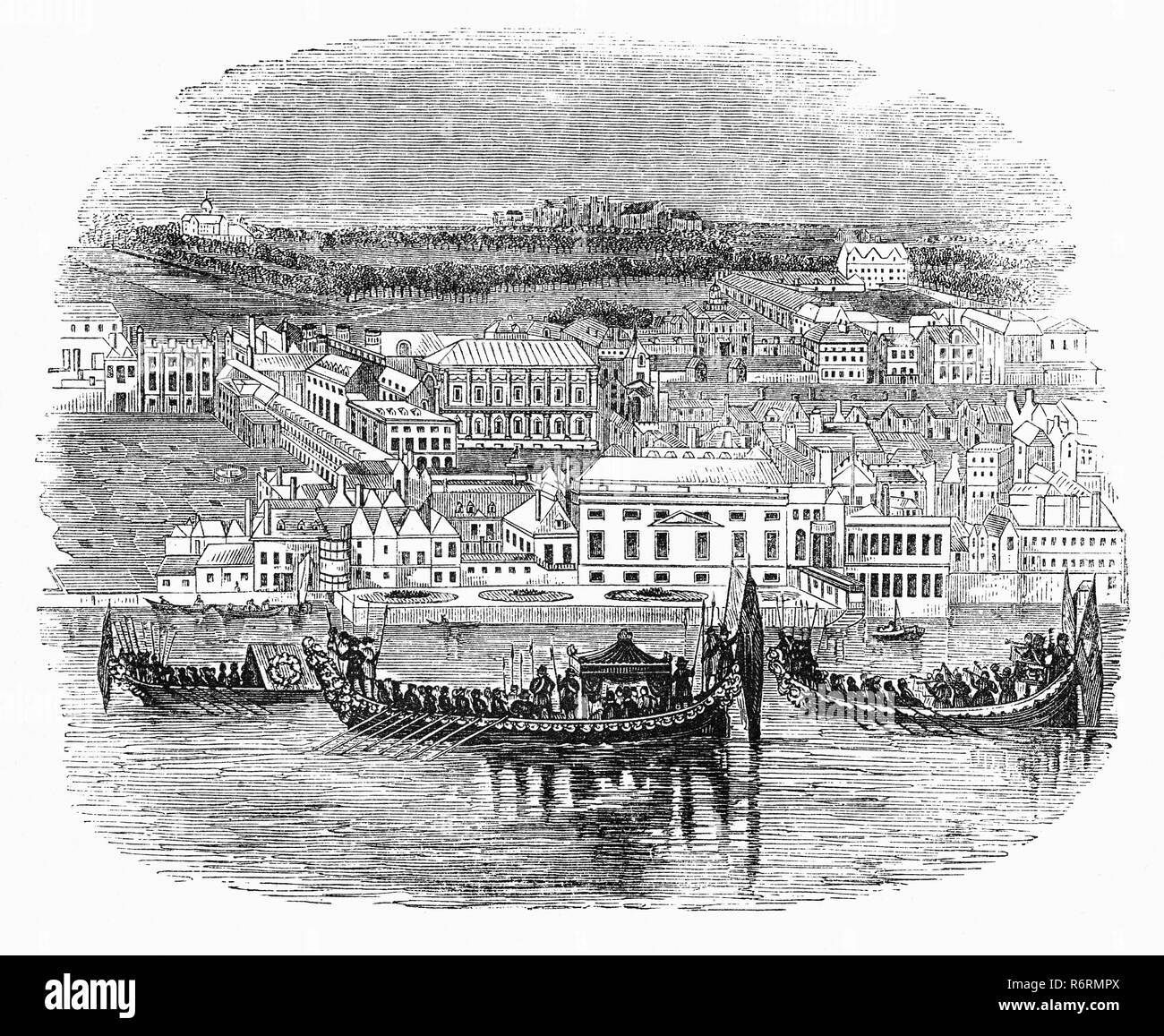 A  Royal Aquatic Procession on the River Thames passing the Palace of Whitehall (or Palace of White Hall) at Westminster, Middlesex, was the main residence of the English monarchs from 1530 until 1698, when most of its structures, except for Inigo Jones's Banqueting House of 1622, were destroyed by fire. The palace gives its name, Whitehall, to the street on which many of the current administrative buildings of the present-day British government are situated, and hence metonymically to the central government itself. - Stock Image