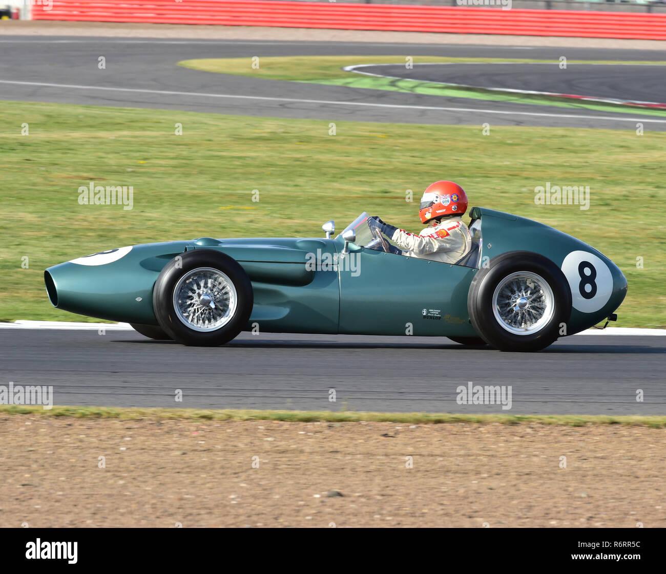 Barrie 'Whizzo' Williams, Aston Martin DBR4, Pre 61, Grand Prix cars, HGPCA, Maserati Centenary Trophy, Silverstone Classic 2014, 2014, Classic Racing Stock Photo