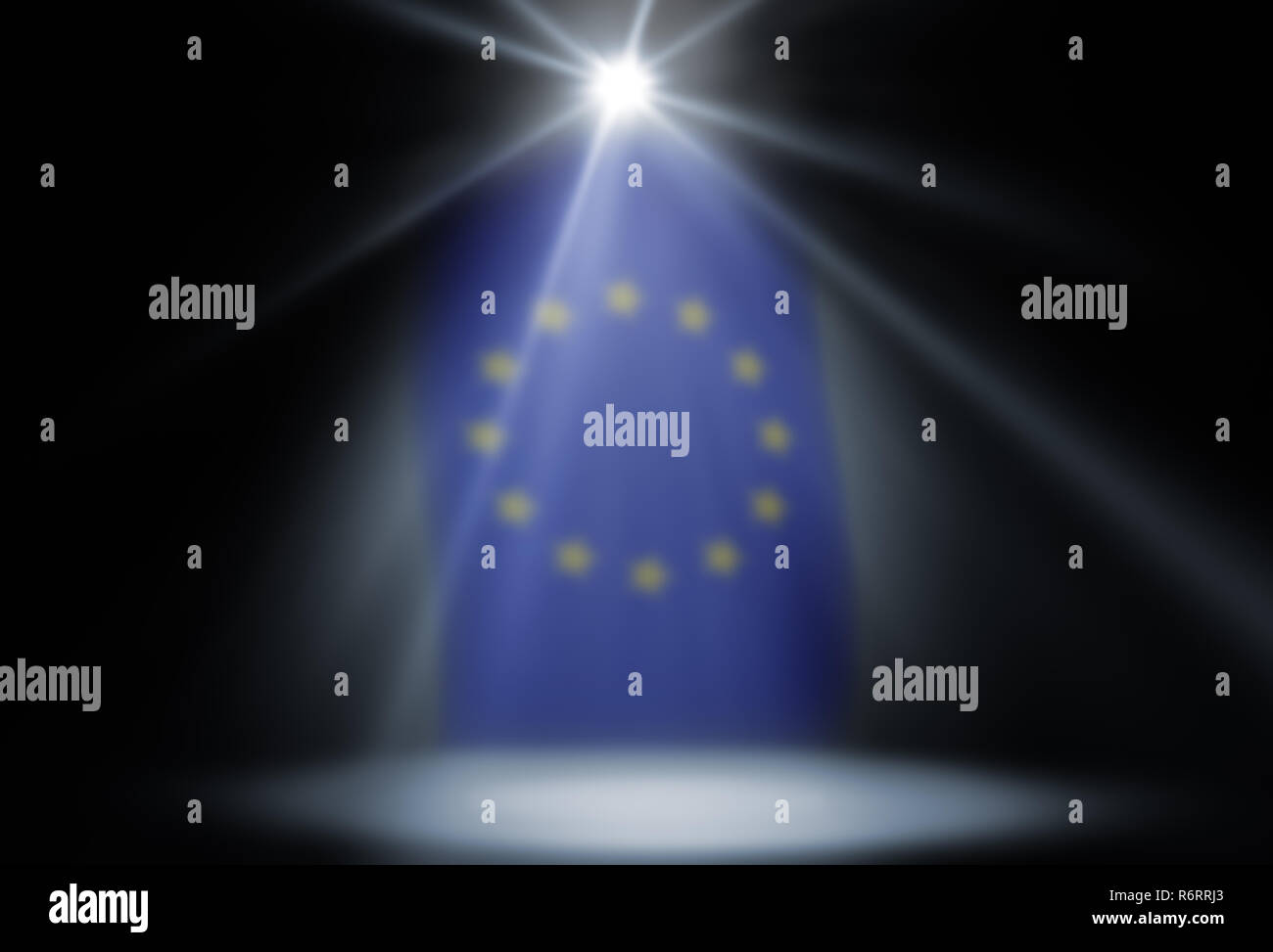 stage spot lighting background with flag of the european union - Stock Image