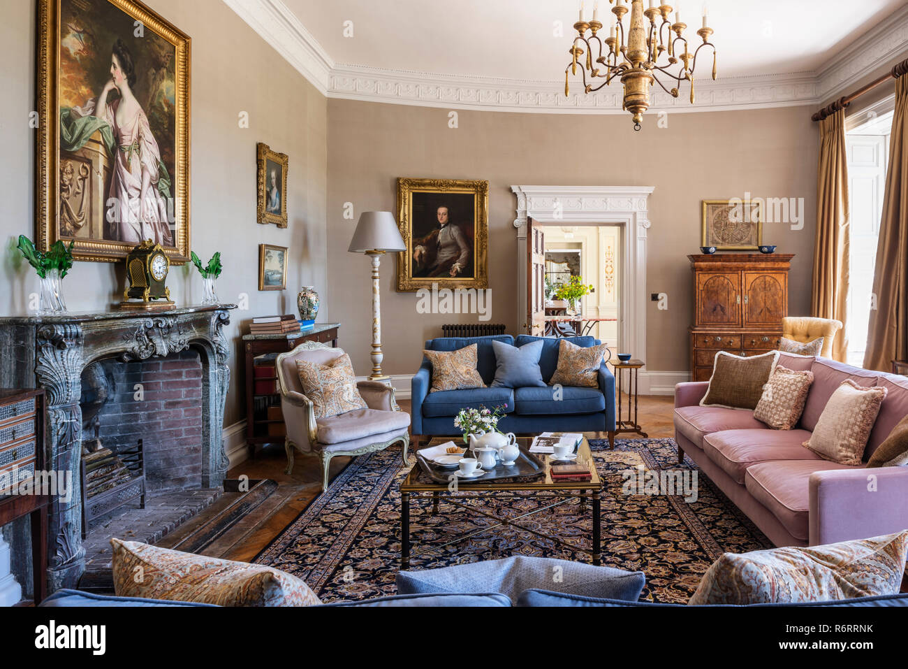 Portrait of Fanny Fowler above fireplace in drawing room of 18th century Goodnestone mansion - Stock Image