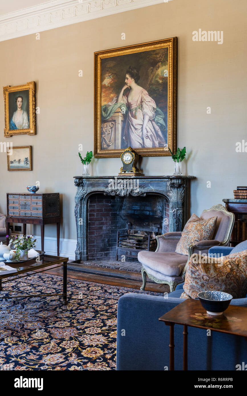 Portrait of Fanny Fowler above fireplace in drawing room of 18th century Goodnestone mansion Stock Photo