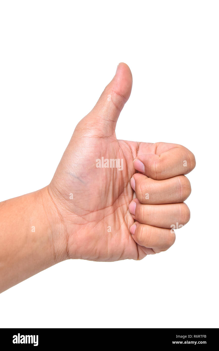 Hand good sign asian young man thumb finger isolated on white background Stock Photo