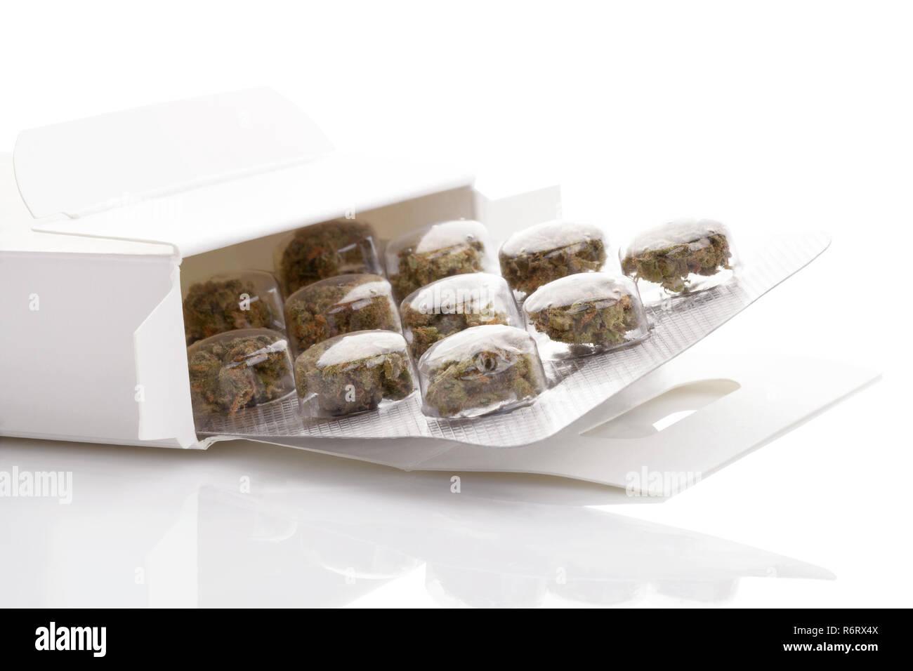 Medical Marijuana in blister pack. - Stock Image