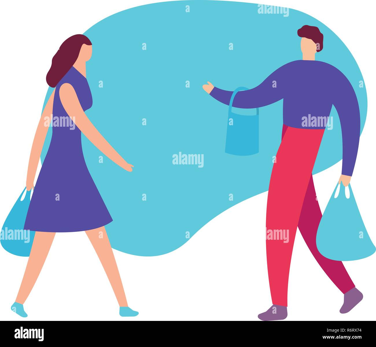 Couple of young people shopping. Man and woman with packages. Vector illustration of a cartoon style, concept shoppihg - Stock Vector