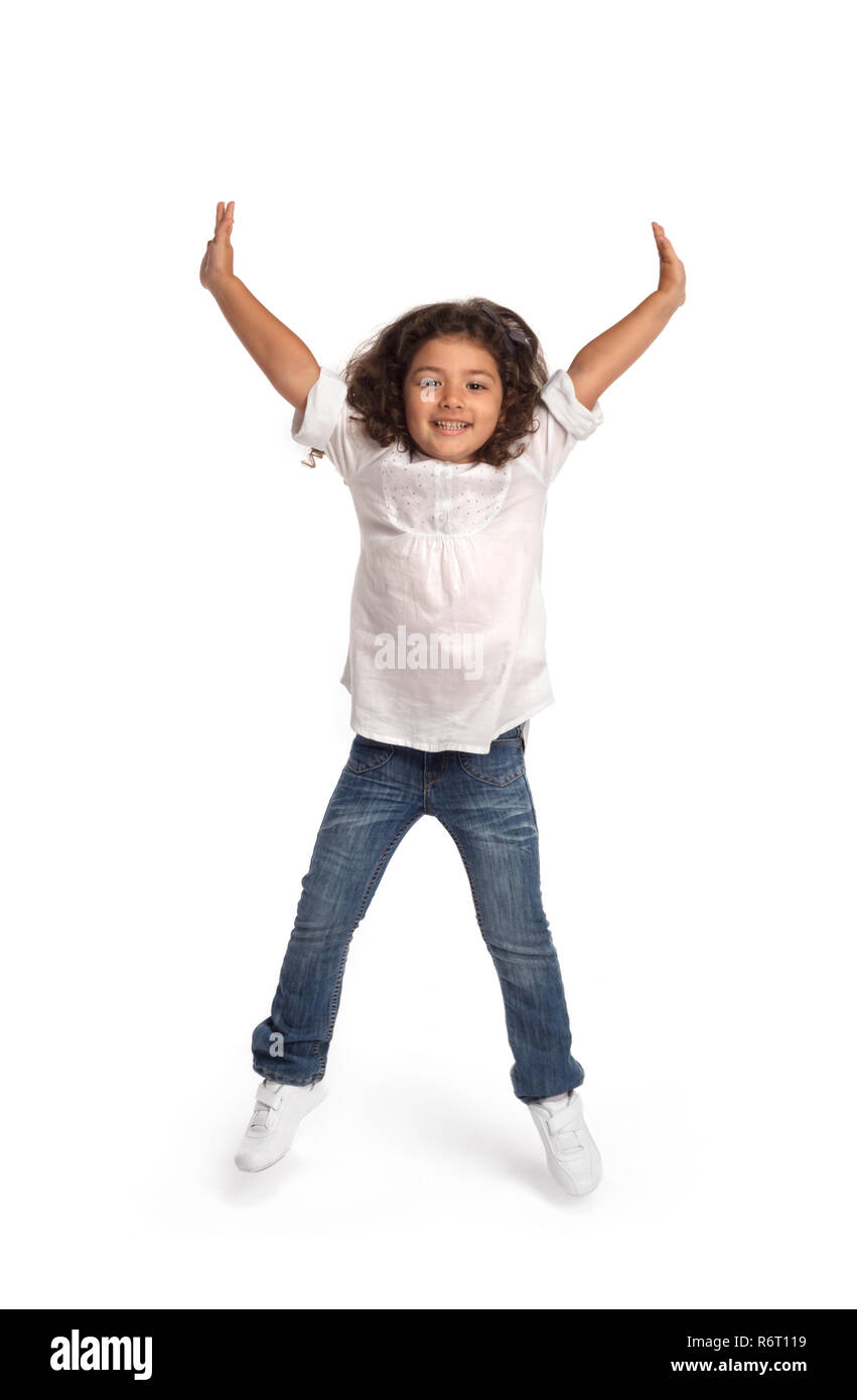 Cute girl jumping - Stock Image