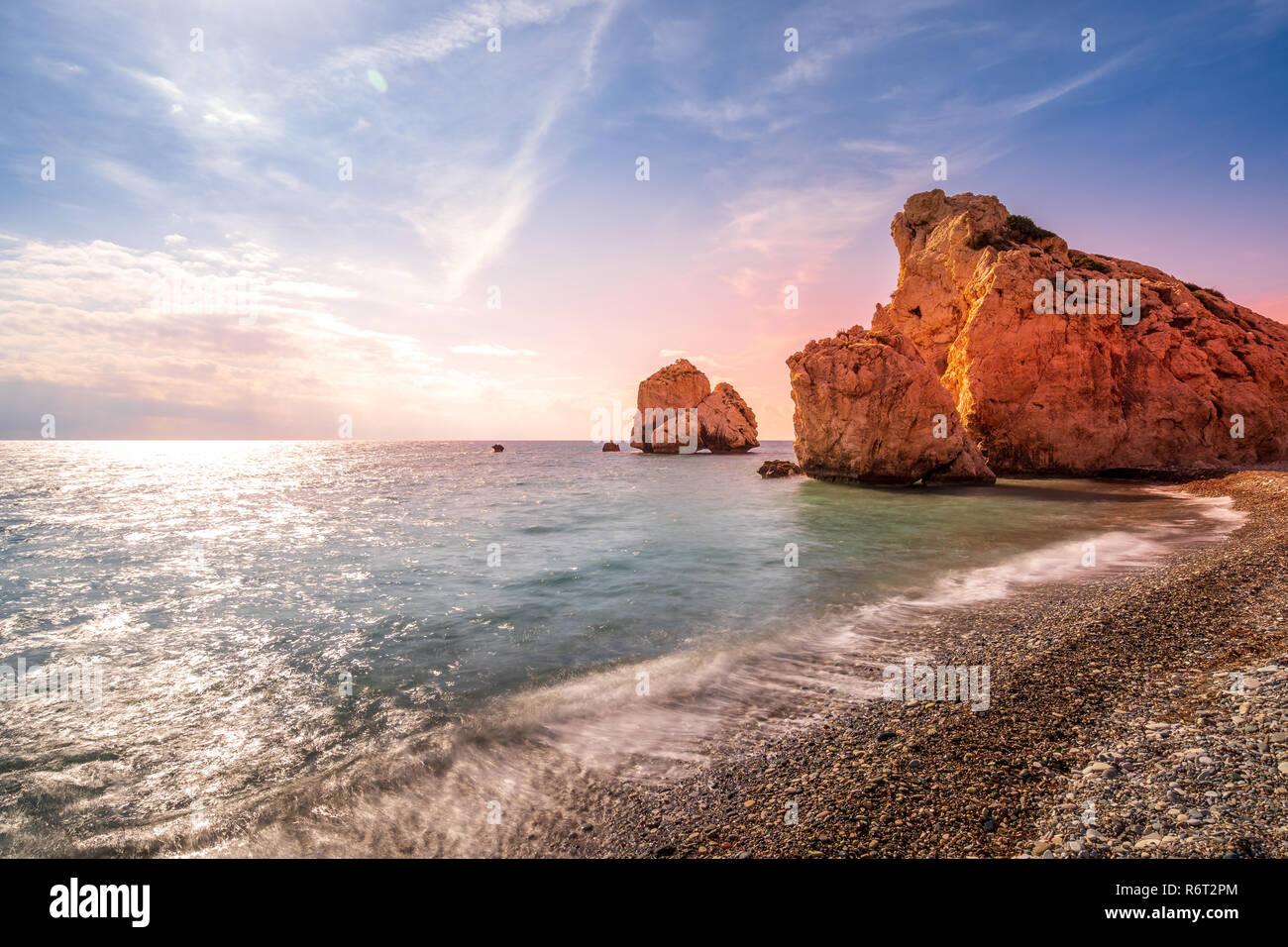 Longtime Exposure Aphrodite's Rock in Cyprus Greece - Stock Image