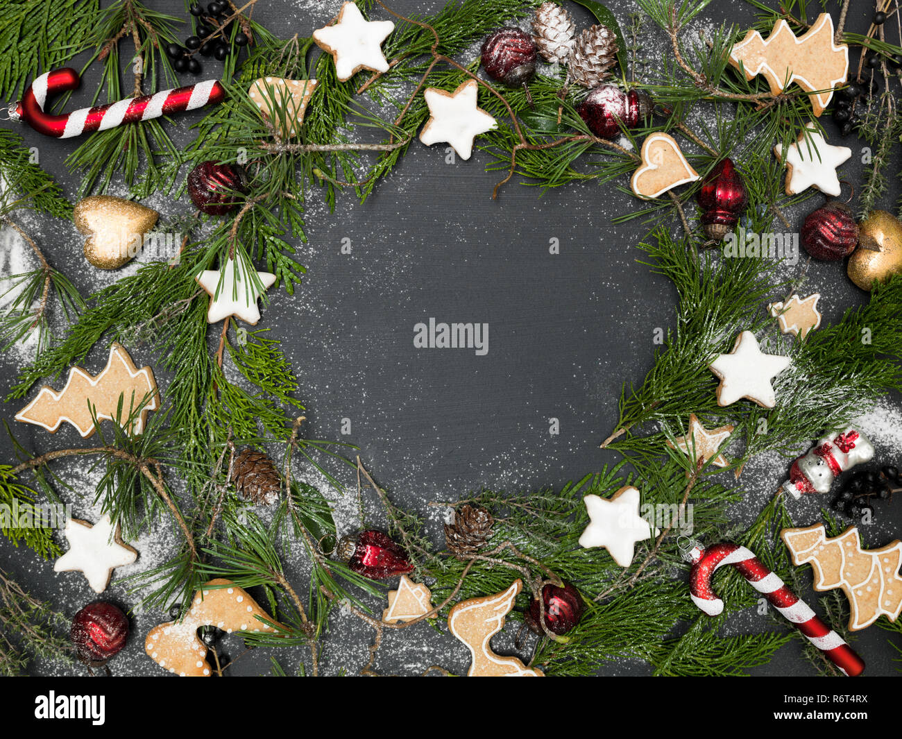 Christmas Items.Christmas Wreath With Christmas Items On Black Chalkboard
