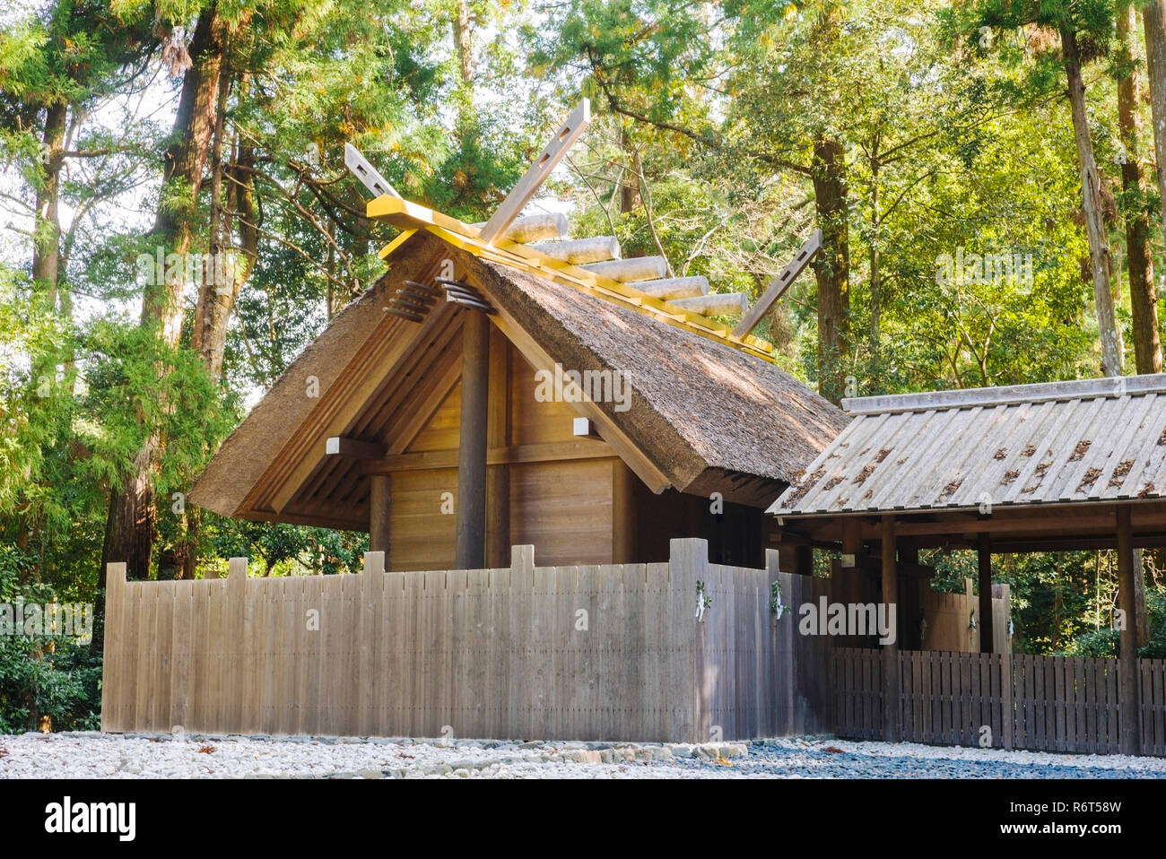 Ise Grand Shrine, Mie Prefecture, Japan: View of the Moon Shrine near the Outer Shrine (Geku) - Stock Image