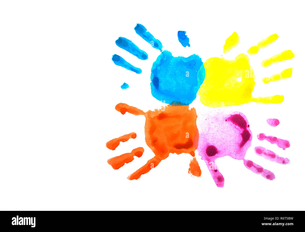 Pink and blue child's handprints isolated on white. - Stock Image