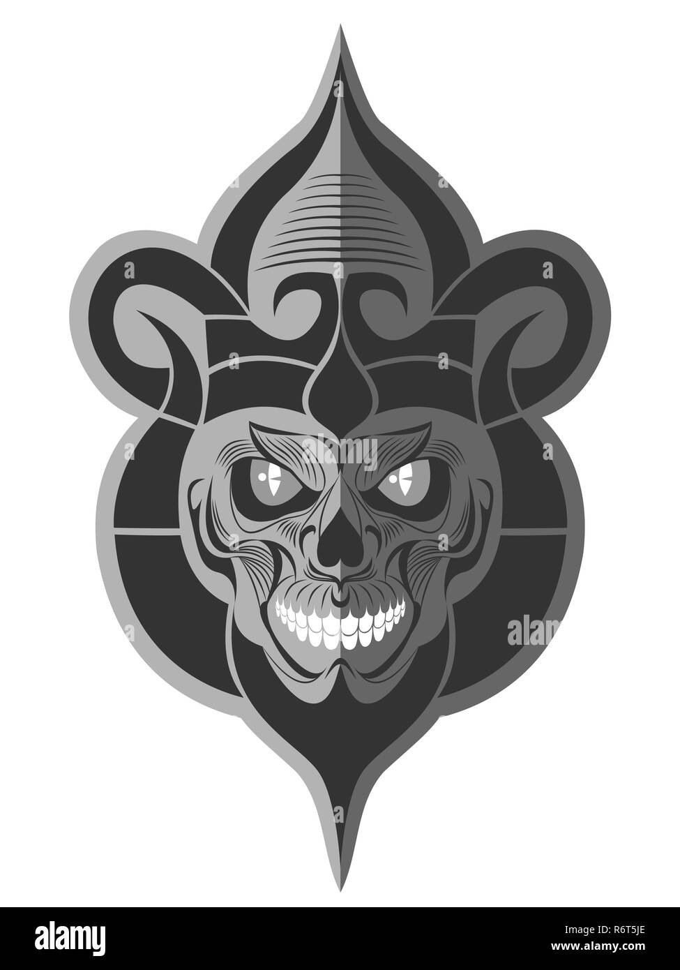 Decorative black and white evil mouse skull with white teeth flat paper memorable art for sticker, tattoo or t-shirt printing - Stock Image