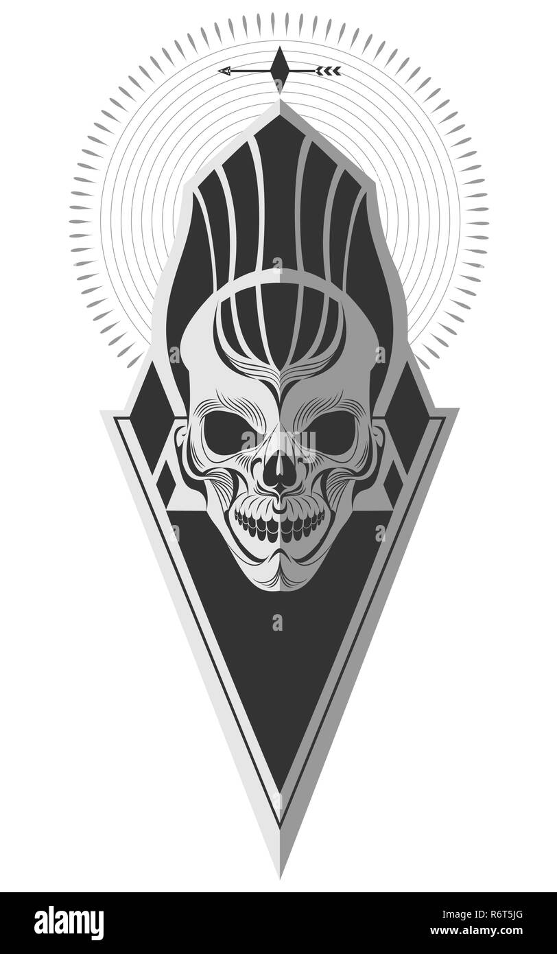 Decorative Black And White Ancient Skull Memorable Art For Sticker